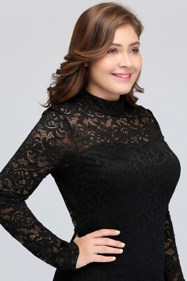 JANE | Mermaid Crew Short Long Sleeves Lace Black Plus size homecoming Dresses_8