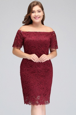 JAYDA | Mermaid Off-Shoulder Short Lace Burgundy Plus size homecoming Dresses with Sleeves_8