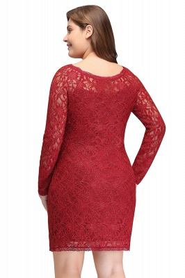 JANELLE | Sheath Scoop Short Long Sleeves Plus size homecoming Dresses Lace Burgundy_3