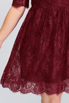 B-JASMINE | A-Line Crew Half Sleeves Lace Burgundy Plus size homecoming Dresses_8