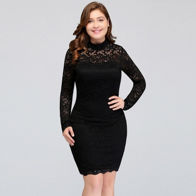 JANE | Mermaid Crew Short Long Sleeves Lace Black Plus size homecoming Dresses_11