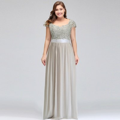 HOLLAND | A-Line Scoop Floor Length Cap Sleeves Appliques Silver plus size BridesmaidDresses with Sash_16