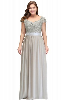 HOLLAND | A-Line Scoop Floor Length Cap Sleeves Appliques Silver plus size BridesmaidDresses with Sash_5