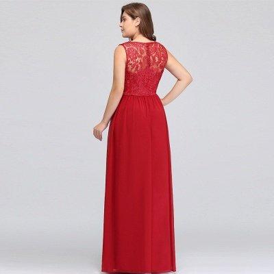 ELYSE | A-line Sleeveless Crew Floor-length Lace Top Chiffon Prom Dresses_14