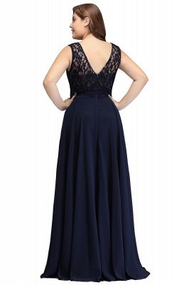IVY | A-Line Crew Long Sleeveless Dark Navy Plus size bridesmaid Dresses with Lace_7