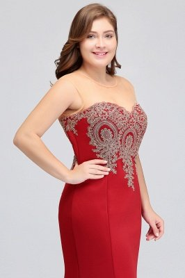 INGRID | Mermaid Crew Illusion Long Sleeveless Burgundy Plus size Formal Dresses with Appliques_4