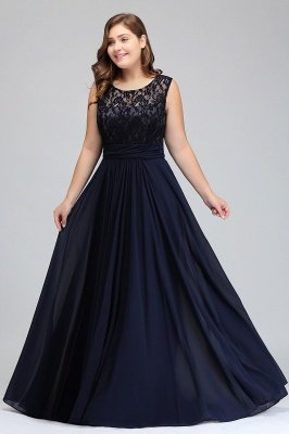 IVY | A-Line Crew Long Sleeveless Dark Navy Plus size bridesmaid Dresses with Lace_10
