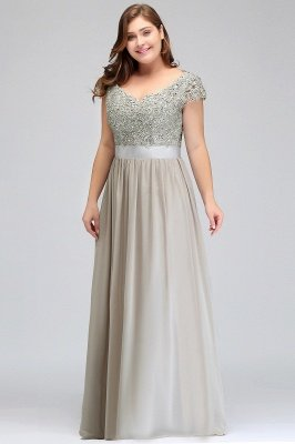 HOLLAND | A-Line Scoop Floor Length Cap Sleeves Appliques Silver plus size BridesmaidDresses with Sash_12