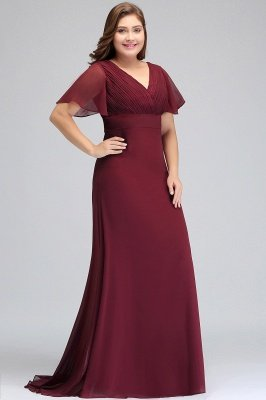 JAYDE | Mermaid V-neck Floor Length Short Sleeves Burgundy Plus size bridesmaid Dresses with Sash_5