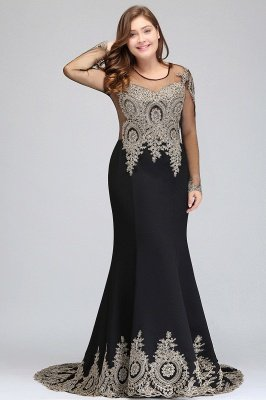ISABELLE | Mermaid Crew Floor Length Long Sleeves Plus size Evening Dresses with Appliques_5