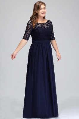 IVANNA | A-Line Scoop Half Sleeves Long Navy Blue Plus size bridesmaid Dresses with Lace_4