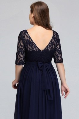 IVANNA | A-Line Scoop Half Sleeves Long Navy Blue Plus size bridesmaid Dresses with Lace_6