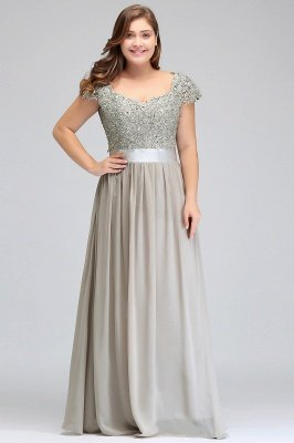 ADA | A-line V Neck Chiffon Bridesmaid Dress with Appliques_10
