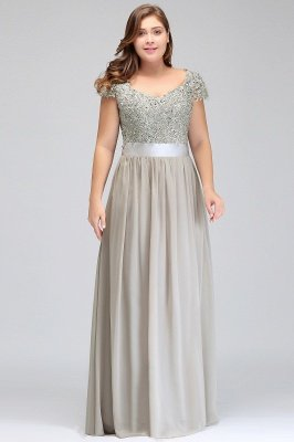 HOLLAND | A-Line Scoop Floor Length Cap Sleeves Appliques Silver plus size BridesmaidDresses with Sash_10