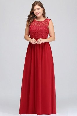 ELYSE | A-line Sleeveless Crew Floor-length Lace Top Chiffon Prom Dresses_13