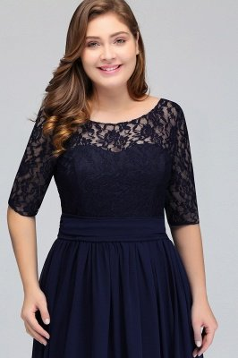 IVANNA | A-Line Scoop Half Sleeves Long Navy Blue Plus size bridesmaid Dresses with Lace_5