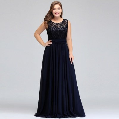 IVY | A-Line Crew Long Sleeveless Dark Navy Plus size bridesmaid Dresses with Lace_11