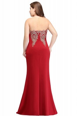 INGRID | Mermaid Crew Illusion Long Sleeveless Burgundy Plus size Formal Dresses with Appliques_2