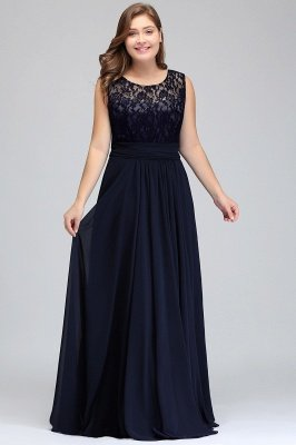 IVY | A-Line Crew Long Sleeveless Dark Navy Plus size bridesmaid Dresses with Lace_8