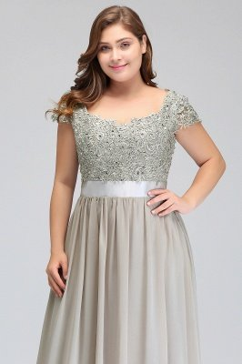 HOLLAND | A-Line Scoop Floor Length Cap Sleeves Appliques Silver plus size BridesmaidDresses with Sash_13