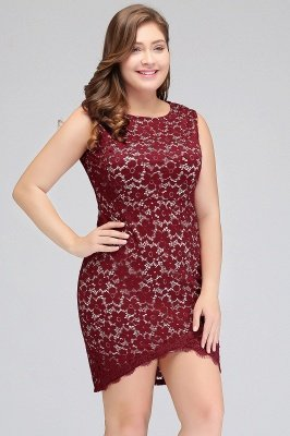 JANIYAH | Meerjungfrau Scoop Short Lace Sleeveless Plus Size Homecoming Kleider_9