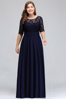 IVANNA | A-Line Scoop Half Sleeves Long Navy Blue Plus size bridesmaid Dresses with Lace_3