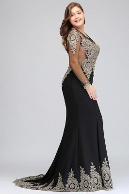 ISABELLE | Mermaid Crew Floor Length Long Sleeves Plus size Evening Dresses with Appliques_7