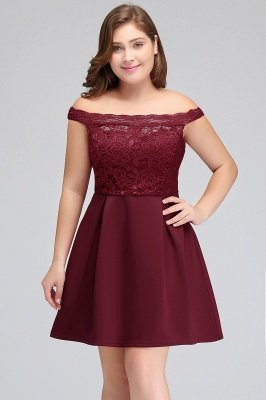 BROOKLYN | A-Line Off-the-shoulder Short Lace Burgundy Homecoming Dresses_7