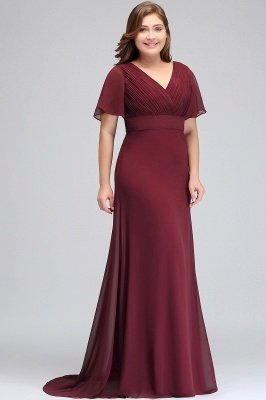 JAYDE | Mermaid V-neck Floor Length Short Sleeves Burgundy Plus size bridesmaid Dresses with Sash_8