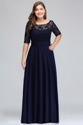 IVANNA | A-Line Scoop Half Sleeves Long Navy Blue Plus size bridesmaid Dresses with Lace_2