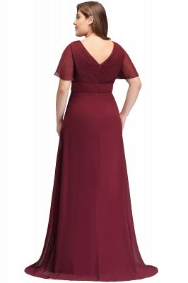 JAYDE | Mermaid V-neck Floor Length Short Sleeves Burgundy Plus size bridesmaid Dresses with Sash_3
