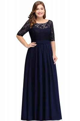 IVANNA | A-Line Scoop Half Sleeves Long Navy Blue Plus size bridesmaid Dresses with Lace_7