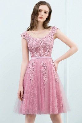 WILMA | Ball Gown Illusion Neckline Tea Length Lace Tulle Dusty Pink Prom Dresses with Beading_9