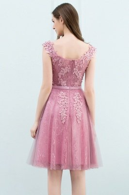WILMA | Ball Gown Illusion Neckline Tea Length Lace Tulle Dusty Pink Prom Dresses with Beading_10