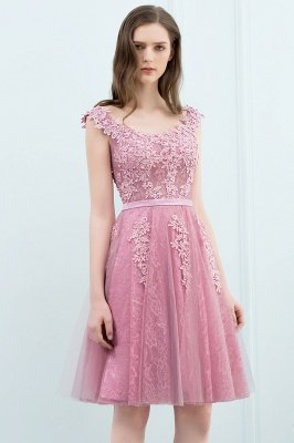 WILMA | Ball Gown Illusion Neckline Tea Length Lace Tulle Dusty Pink Prom Dresses with Beading_15