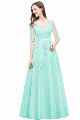 JORDYNN | A-line Half-sleeve V-neck Floor Length Appliqued Tulle Prom Dresses with Sash_12