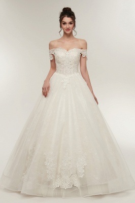 ZOLA | A-line Off-shoulder Sweetheart Floor Length Lace Appliques Wedding Dresses with Lace-up_2