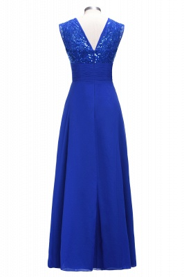 VICKI | A-line Sleeveless Crew Long Sequined Lace Chiffon Bridesmaid Dresses_3