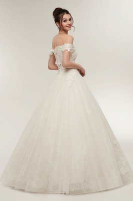 ZOLA | A-line Off-shoulder Sweetheart Floor Length Lace Appliques Wedding Dresses with Lace-up_10