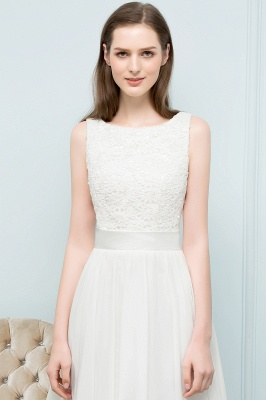 VALERIE | A-line Knee Length Sleevelss Crew Lace Chiffon White Prom Dresses_6
