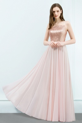 JORDYN | A-line Floor Length Spaghetti Sequined Top Chiffon Prom Dresses_4