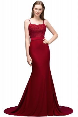 VALERY | Mermaid Spaghetti Sweetheart Long Burgundy Appliques Prom Dresses with Beads_1