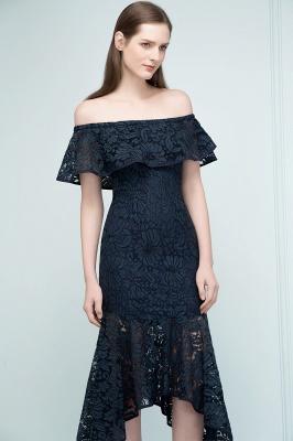 VERENA | Vestidos de fiesta de encaje negro de la longitud del té de la sirena fuera del hombro_9