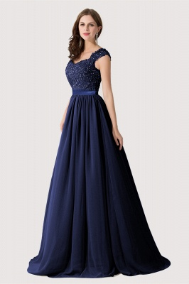 ADA | A-line V Neck Chiffon Bridesmaid Dress with Appliques_6