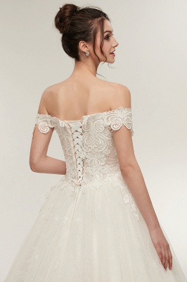 ZOLA | A-line Off-shoulder Sweetheart Floor Length Lace Appliques Wedding Dresses with Lace-up_6