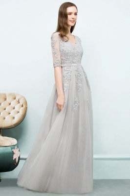 JORDYNN | A-line Half-sleeve V-neck Floor Length Appliqued Tulle Prom Dresses with Sash_17