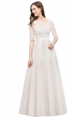 JORDYNN | A-line Half-sleeve V-neck Floor Length Appliqued Tulle Prom Dresses with Sash_2