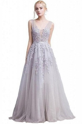 ADDYSON | Uma linha do assoalho-comprimento vestido de dama de tule com apliques_10