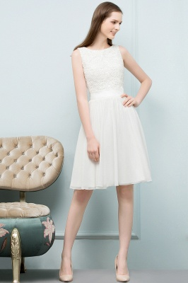 VALERIE | A-line Knee Length Sleevelss Crew Lace Chiffon White Prom Dresses_3