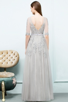 JORDYNN | A-line Half-sleeve V-neck Floor Length Appliqued Tulle Prom Dresses with Sash_14